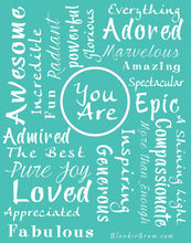 Load image into Gallery viewer, You Are Awesome Throw Blanket to Express Gratitude and Admiration (Teal)