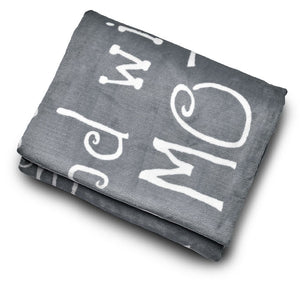 Mother Throw Blanket for Loving, Kind & Inspiring Moms (Grey)