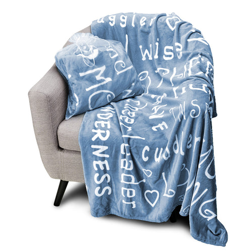 Mother Throw Blanket for Loving, Kind & Inspiring Moms (Blue)
