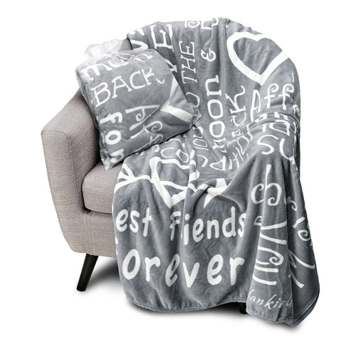 I love You Throw Blanket The Perfect Caring Gift for Best Friends, Couples & Family, (Grey)