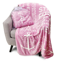 Bravery Inspirational Throw Blanket Strength & Encouragement (Pink)