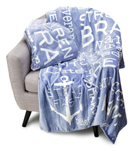 Load image into Gallery viewer, Bravery Inspirational Throw Blanket Strength & Encouragement (Blue)