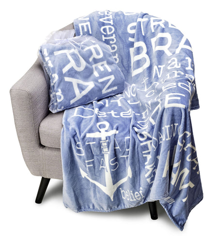 Bravery Inspirational Throw Blanket For Strength & Encouragement (Blue)