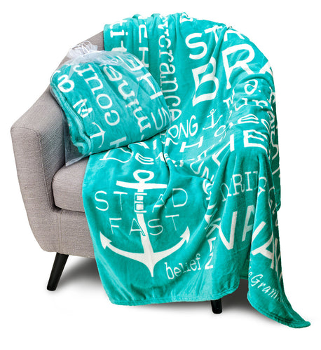 Bravery Inspirational Throw Blanket For Strength & Encouragement (Teal)