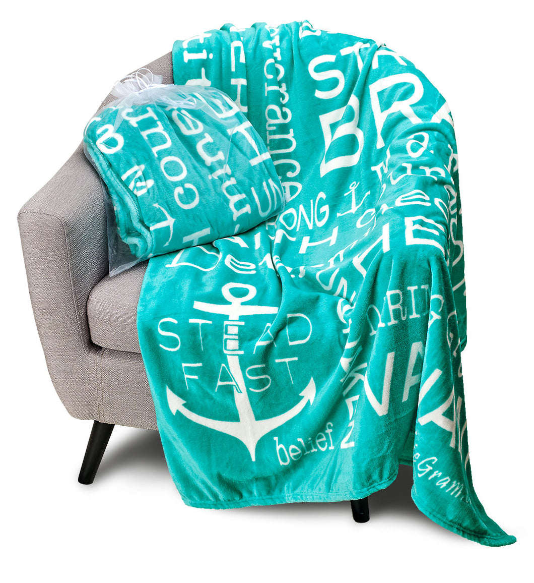 Bravery Inspirational Throw Blanket Strength & Encouragement (Teal)