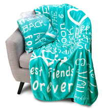 Load image into Gallery viewer, I love You Throw Blanket The Perfect Caring Gift for Best Friends, Couples & Family, (Teal)