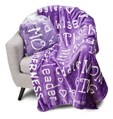 Mother Throw Blanket for Loving, Kind & Inspiring Moms (Purple)