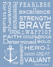 Load image into Gallery viewer, Bravery Inspirational Throw Blanket For Strength & Encouragement (Blue)