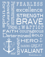 Bravery Inspirational Throw Blanket Strength & Encouragement (Blue)