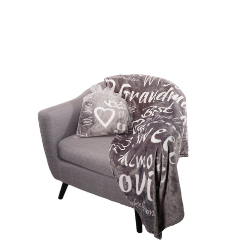 Grandmother Throw Blanket for Kind Loving and Inspiring Grandmas The Perfect Caring Gift (Gray)