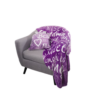 Grandmother Throw Blanket for Kind Loving and Inspiring Grandmas The Perfect Caring Gift (Purple)
