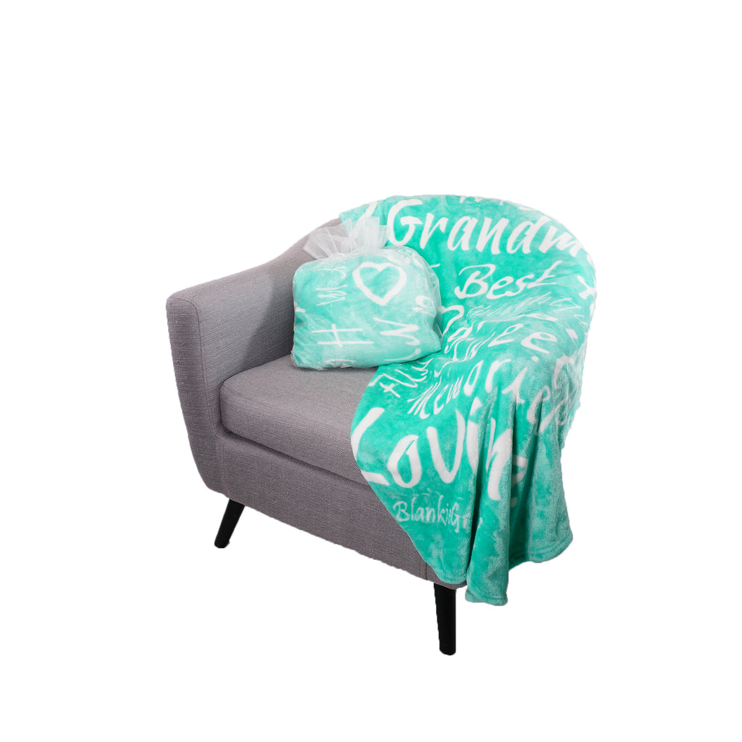 Grandmother Throw Blanket for Kind Loving and Inspiring Grandmas The Perfect Caring Gift (Teal)
