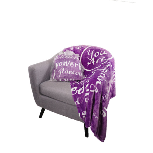You Are Awesome Throw Blanket to Express Gratitude and Admiration (Purple)