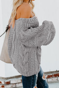 Sexy Relaxing V-Neck Braided Knit Puffy Shoulder Exposing Sweater