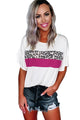 Women's Casual White Leopard Color Block Short Sleeve Tee