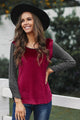 Women's Red Round Neck Color Block Velvet Pleated Long Sleeve Top