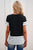 Women's Short Sleeve Black White Striped Detail T-shirt with Patch Pocket