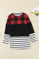 Red Plaid Splicing Striped Color Block Long Sleeve Top