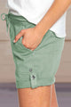 Women's Greeen Elastic Waistband Pocket Drawstring Shorts with Button