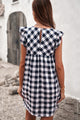 Black White Plaid Ruffle V Neck Pocketed Babydoll Mini Dress