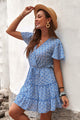 Cute Blue V Neck Short Sleeve Layered Ruffled Floral Dress