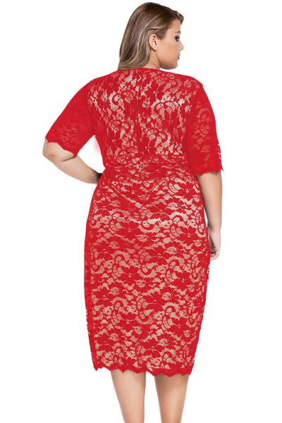 Red Plus Size V-Neck Half Sleeve Lace Midi Dress MB61046-3
