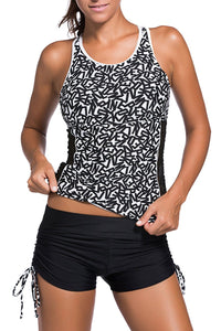 Active Monochrome Racerback Tankini and Swim Shorts