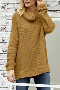 Fashion Khaki Cozy Long Sleeves Turtleneck Sweater