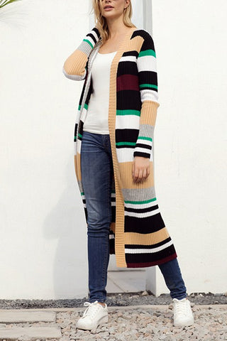 Color Block Striped Open Front Long Cardigan