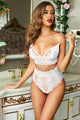 Chic White Strappy Lace High Waist Lace Up Panty Set Bralette