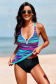 Sport Sky Blue Striped Tie-dye Racerback Tankini Swimsuit