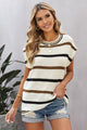 Women's White Striped Short Sleeve Knit Top
