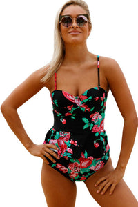 2pcs Floral Print Black Flounce Peplum Top Tankini Swimsuit