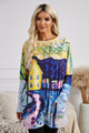 Yellow Blue Accent Color Block Long Sleeve Tunic Top With Two Side Pockets