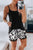 Summer Black Tank Top and Leopard Lace Trim Shorts Loungewear Set
