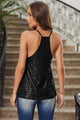 Chic Black Sequin Racerback Summer Tank Top