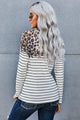 Leopard White Striped Print Long Sleeve Top