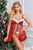 2pcs Red Plush Dotted Ruffled Mesh Lingerie Thong Christmas Costume