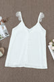 Chic White Adjustable Lace Straps Buttons Tank TopChic White Adjustable Lace Straps Buttons Tank Top