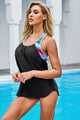 Black Splicing Scoop Neck 2 Piece Tankini Swimsuit
