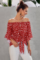 Red Polka Dot 3/4 Bell Sleeve Front Tie Knot Off Shoulder Top