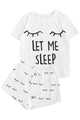 White Eyelash Slogan Tee and Drawstring Shorts Lounge Set