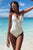 Chic White V Neck Spaghetti One-piece Swimsuit