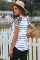 White Striped Leopard Pocketed Patch Short Sleeve Tee