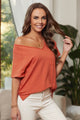 Orange V Neck Short Sleeves Front Pocket and Side Slits Cotton Blend Tee