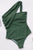 Green Asymmetric One-shoulder One-piece Swimwear
