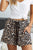 Leopard Print Drawstring Elastic Waist Pocketed Casual Shorts