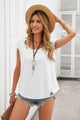 Women White Casual Short Sleeve Summer Cut Out T-shirt