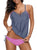 Women's Gray Stripes Patchwork 2 Piece Tankini