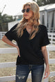Black V Neck Short Sleeves Drape Knit Top